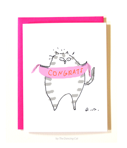 Congrats Cat Card - Pink Banner
