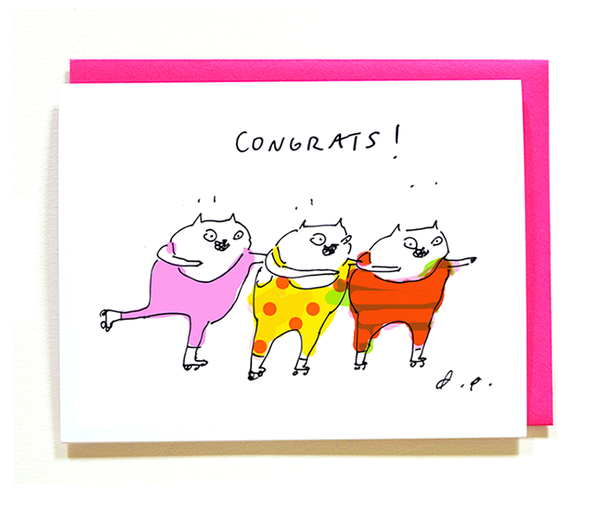 Congrats Cat Card - Let's Celebrate - Roller Skates