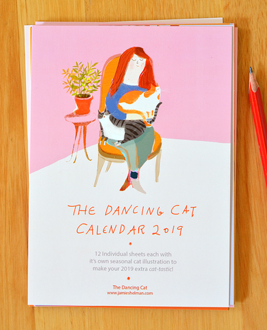 2019 Dancing Cat Calendar-Single Sheets