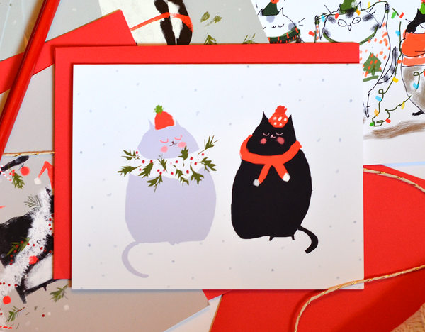 Tis the Season - Holiday Scarves - Christmas Cat Card