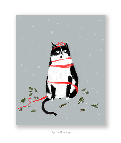 Seasons Greetings- Christmas Cat Card - Tuxedo Cat