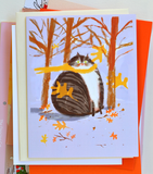 Fat Cat Yellow Scarf - Fall Cat Card
