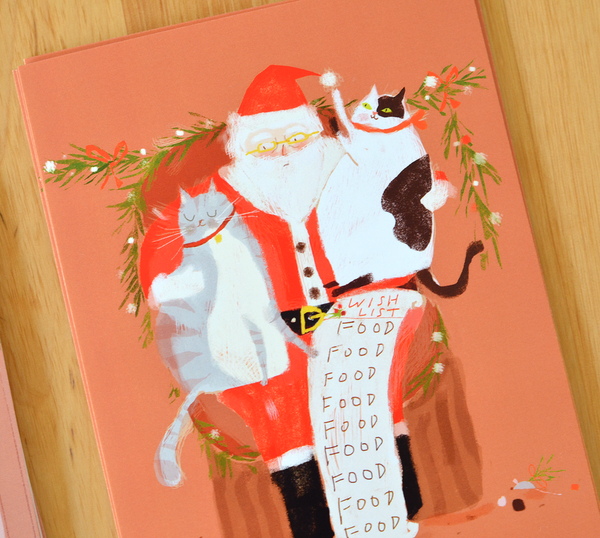 All I Want for Christmas is Food - Cat Postcards