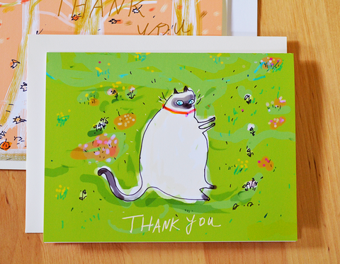 Garden Cat- Thank You Card - Siamese Cat