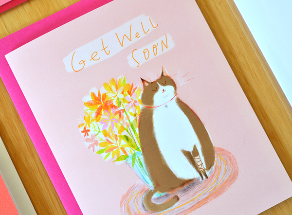 Get Well Soon Cat Card - Grey Buddy