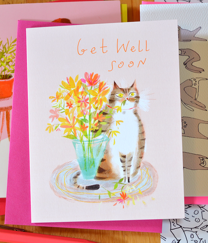 Get Well Soon Cat Card - Flower Cat