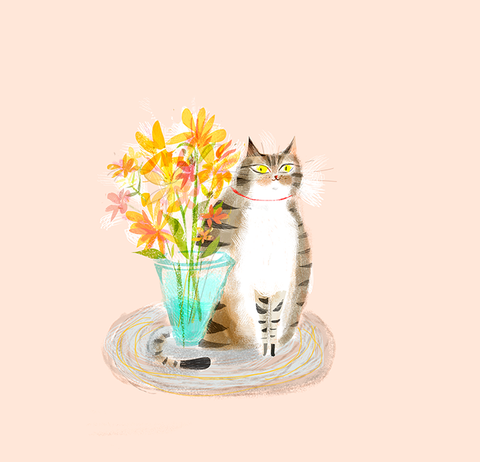 Cat with Flowers Print