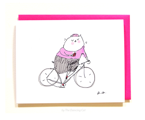 Cycling Coffee Cat Card - Pink - Giro