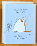 Sending good thoughts (and hair) your way- Cat Card