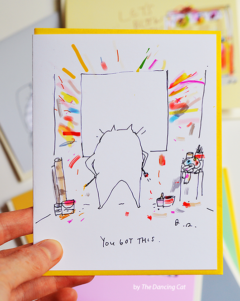 Art Cat Card- You Got This