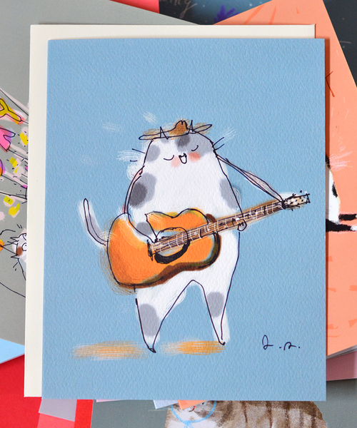 Guitar Cat Card
