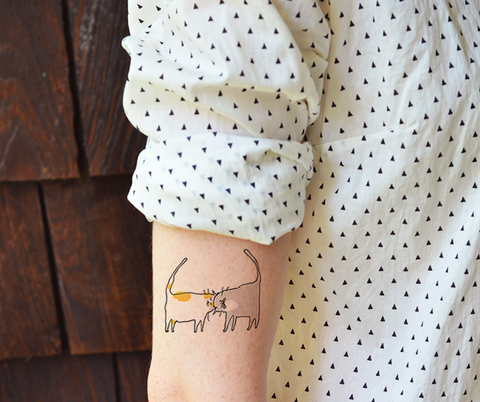 Headbutt Cats - Temporary Tattoo - Set of 2