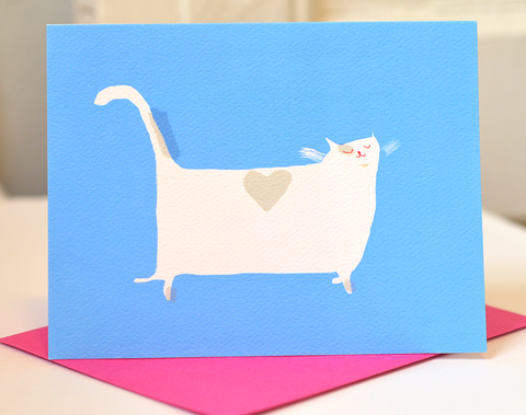 Heart Back Cat Card