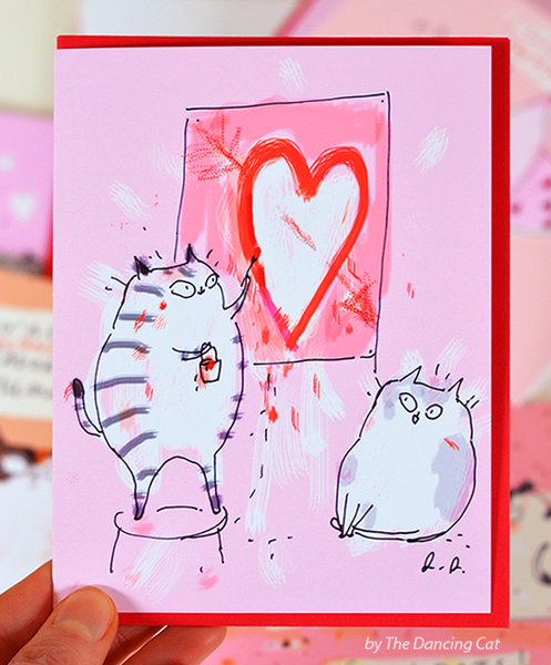 Cat Valentine Card - Heart Painting