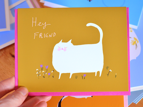 Hey Friend- Spring Cat Card - Snowdrop