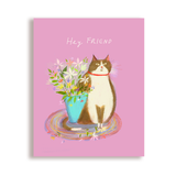 Hey Friend Cat Card- Cat with Flowers