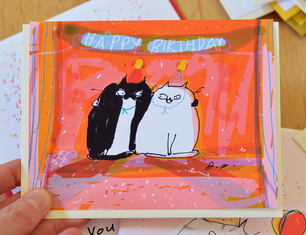 Birthday Party Cats Card
