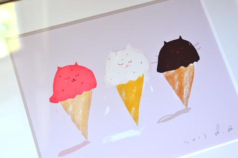 Kitty Cones - Fine Art Print - Strawberry, Vanilla, Chocolate