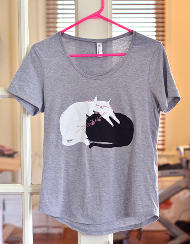 Love Pile Cat Shirt - Boat Neck Style