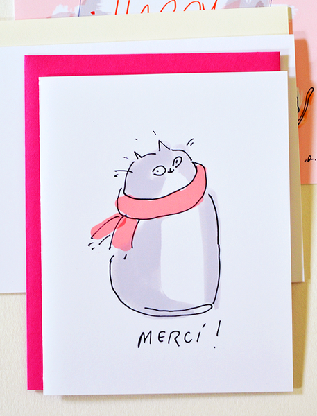 Merci- Thank You Card- Cat Thank You Card