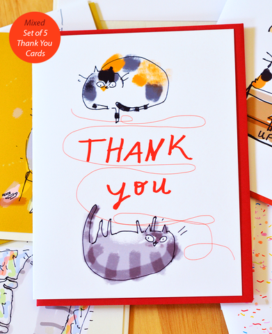 Mixed Set of 5 Thank You Cards