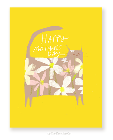 Happy Mother's Day Cat Card - Flower Power