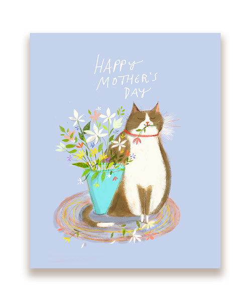 Happy Mother's Day Cat Card- Floral Cat