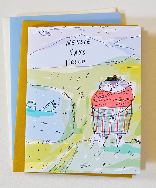 Nessie Says Hello - Scottish Cat Card - Scotland - Funny Cat Card