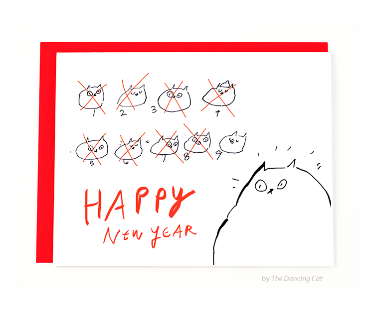happy new year card 9 lives