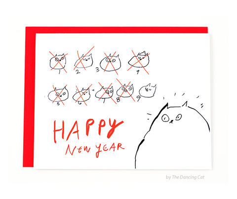 Happy New Year Card - 9 Lives