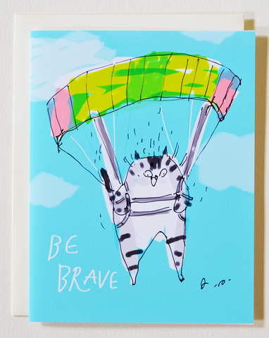 Parachute Cat - Be Brave - Encouragement Card