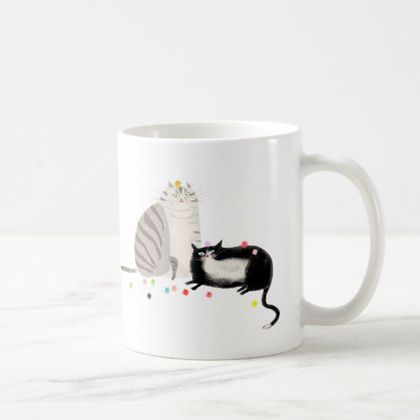 Grey & Tux Cat Mug- Party Balls