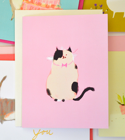 Happy Cat Card- Pink Bow Tie