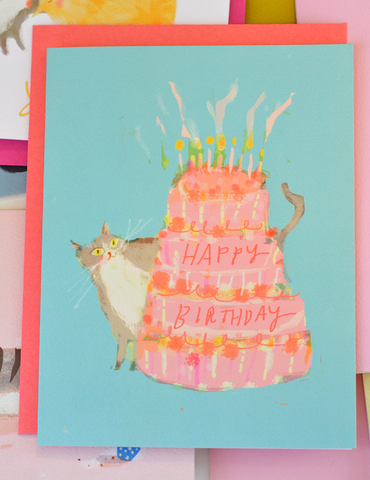 Cake & Cat Birthday Card