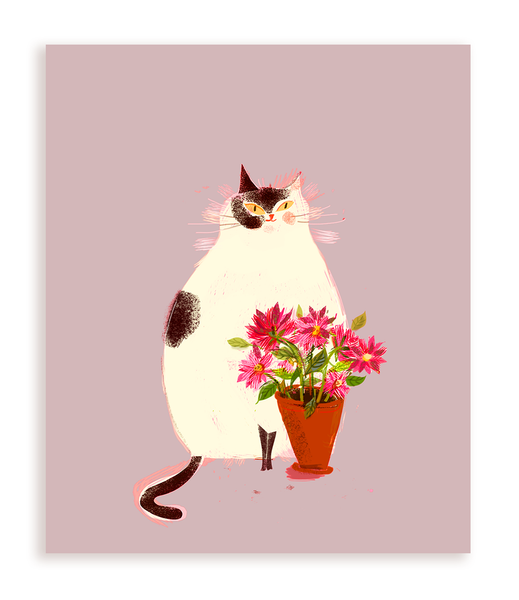 Pink Flowers Cat Card
