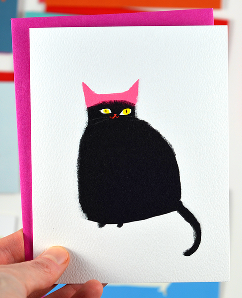 Pink Hat Cat Card