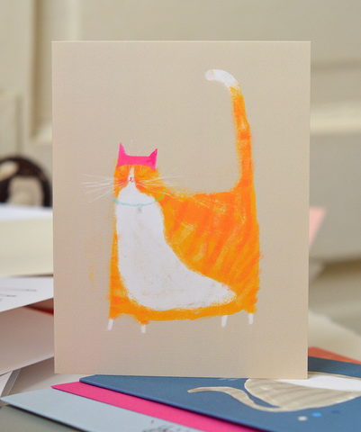 Pink Hat Orange Cat Card