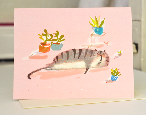 The Dancing Cat Flower Card Set - Mixed Set of 10 Cards