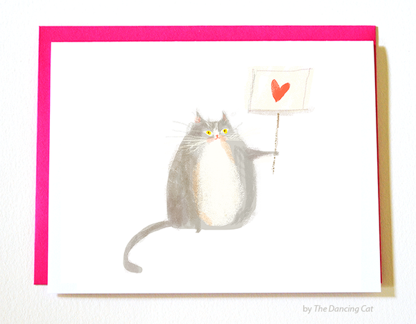 Love Not Hate Cat Card-  Protest Cat Card