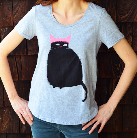 Pink Hat Cat Shirt - Boat Neck Style- Grey