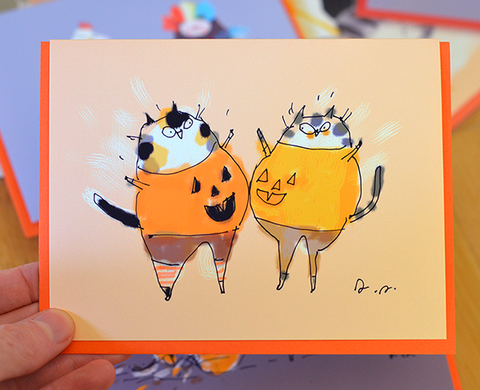 Pumpkie Bump - Halloween Cat Card
