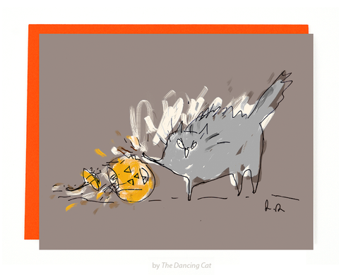 There was only room for 1 Pumpkin in this house! Halloween Cat Card