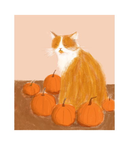 My Little Pumpkin Cat Print