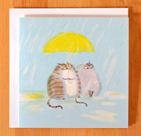 Rainy Day Cat Card - Square Card