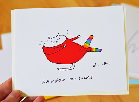 Rainbow Toes Socks Card - Funny Cat Card