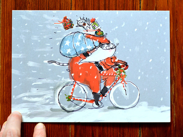 Santa Cat Cards - Large Cards - Set of 5