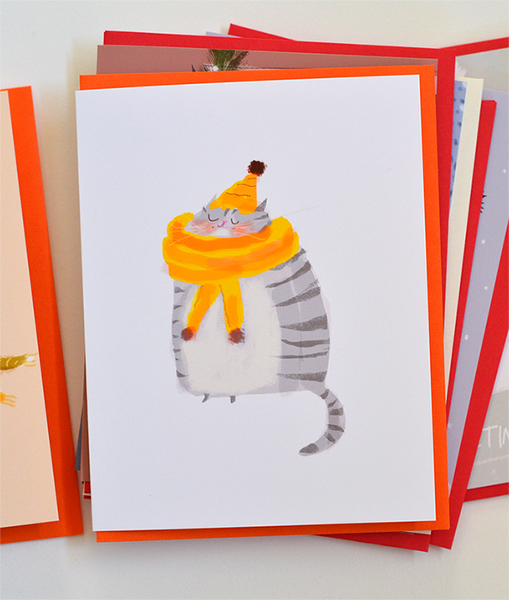 Cozy Cat Yellow Scarf Grey Cat Card