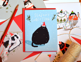 Seasons Greetings- Santa Hat Cat - Christmas Cat Card