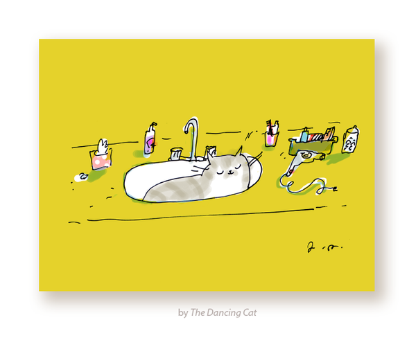 Cat in Sink Card
