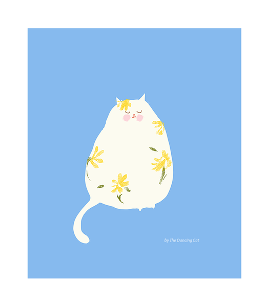 Flower Power Cat Print